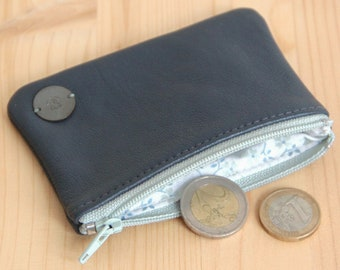 SALES Recycled grey leather wallet / Green-grey zipped women wallet / Eco-responsible leather coins wallet / Mother birthday gift