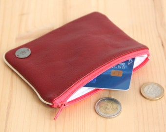 SALES Cardholder in recycled red leather / Bright pink zipped women Pouch / Zero waste leather large wallet / Mother birthday gift