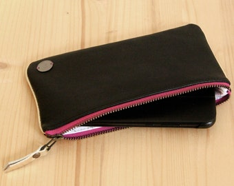 Black recycled leather Cell Phone case / Leather Phone holder / Smartphone pouch / Pencils leather case / Personalized Christmas woman gift