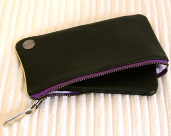 Black recycled leather Phone case / Black Smartphone pouch / Cell Phone holder / Personalized Christmas gift for woman