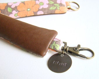 Brown Recycled Leather Keychain // Custom Order // Orange Pink Vintage Flowers // Women Purse
