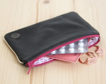 SALES Recycled Genuine Chocolate Brown Leather Women Pouch / Pink Fans / Tea Pink Zipper / Cardholder Make up Case / Mother's day / POCC9