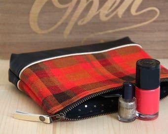 SALES Black Recycled Leather Zipped Makeup Pouch / Red orange Vintage Checks / Metal Zipper / Bag Women Handbag / Birthday Gift / TRO4