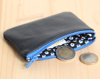 Black Recycled Leather Wallet / Bright Blue Zipped coins wallet / Man Leather Change Wallet / Fathers day Gift / Friend Husband Gift / PMH22
