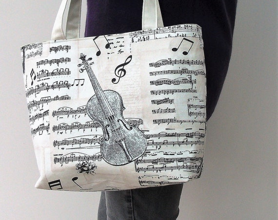 Bach small Tote Bag with fastener, Music Themed Shopper, Gift for violinist,  Music Bag, Gift for Her, Music Gift, gift for musician