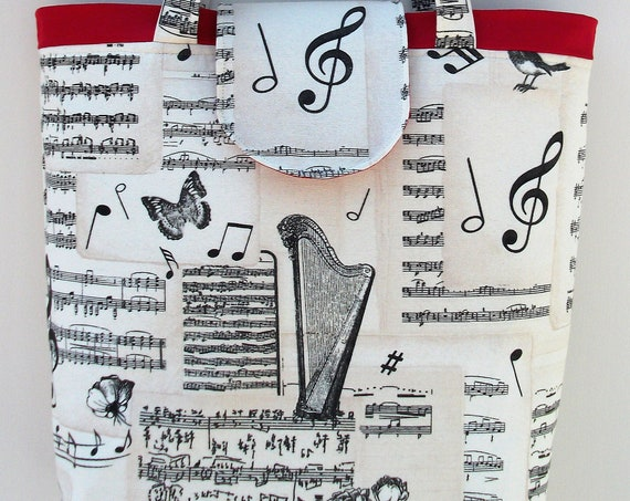 Bach Large  Tote Bag, Music Themed Shopper, harpist gift, Music Bag, Gift for Her, gift for harpist, bag with fastener, gift for musician