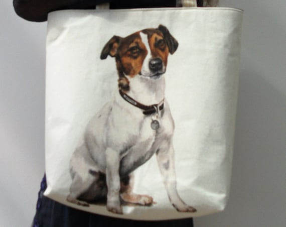 Dog themed large tote bag, gift for dog lovers, dog sitter gift, Jack Russell bag, knitting bag, dog lover, doggie themed gift