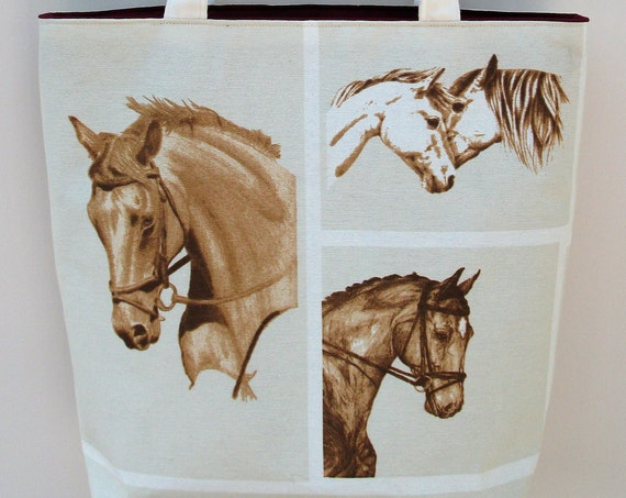 Horse themed tote bag, horse tote, gift for horse lover, equestrian gift, long handled tote, horse themed market bag, book bag, gift for her