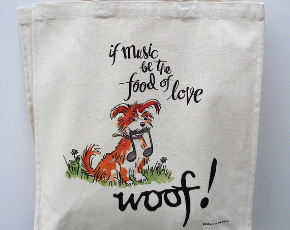 Long handle tote, gift for dog lover, dog walker gift, gift for dog sitter, dog themed tote, dog themed gift, project bag, market bag,