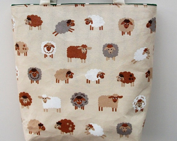 Sheep themed bag, large sheep tote bag, project bag, sheep themed project bag, gift for knitter, gift for quilter, gift for her, market bag