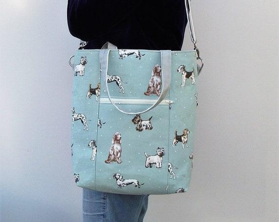 Dog themed Tote Bag, Dog Lover gift, Bookbag, dog walker gift, doggie themed gift, long handled tote, cross body bag, knitting bag