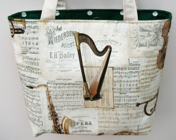 Strauss small tote bag, music themed bag, music bag, gift for musician, gift for music lover,small tote bag.