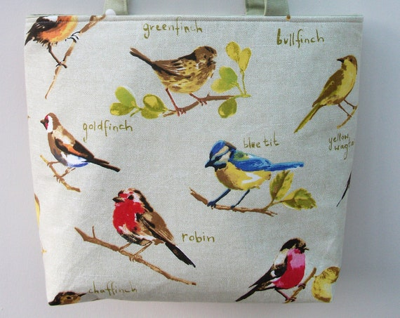 Birds of Britain themed bag, bird lover gift, gift for nature lover, gardener gift, bird themed tote, gift for her, book bag, gift for mum