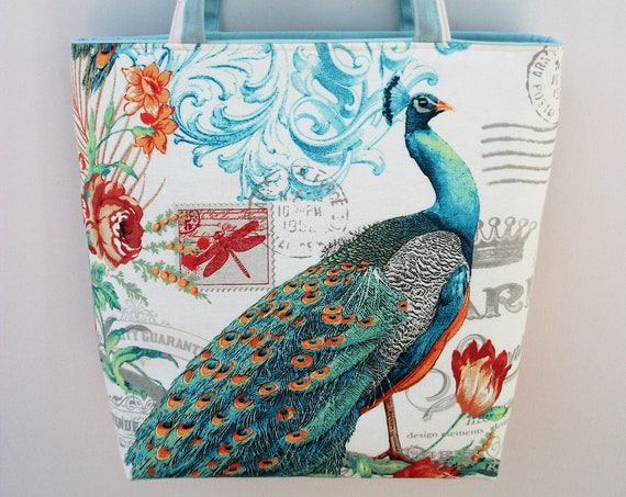 Peacock themed tote bag, long handled tote, book bag, gift for her, project bag, knitting bag, gift for knitter, gift for quilter