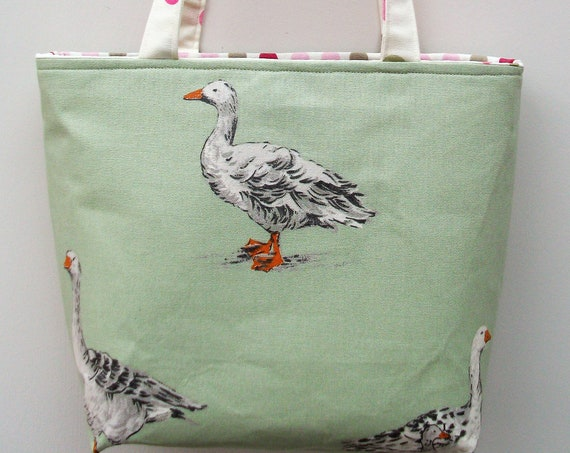 Goose themed tote, small tote, gift for her, gift for bird lover, book bag, long handled tote, project bag