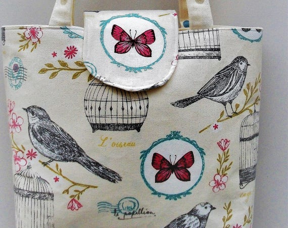 Olympia Handmade small tote bag, book bag, babybag, long handled tote, gift for her, Valentine's present, lined tote bag, bird themed bag