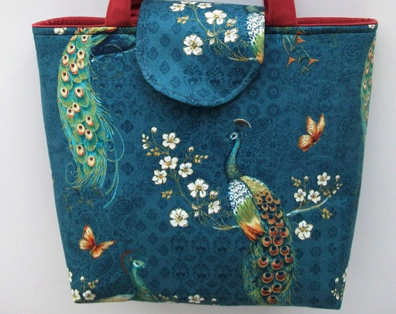Project bag, craft bag, knitting bag, book bag, medium sized tote, gift for her, peacock themed bag, lined tote, long handled tote,
