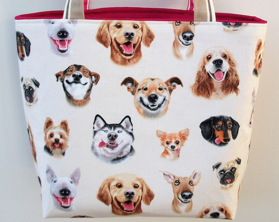 Dog themed tote, dog themed gift, gift for dog lover, dog sitter gift, knitting bag, knitting tote, book bag, small tote