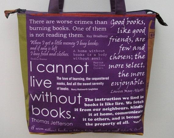 Book bag, zippered book bag, medium tote, gift for book lover, gift for her, gift for student, library theme bag, valentine's gift