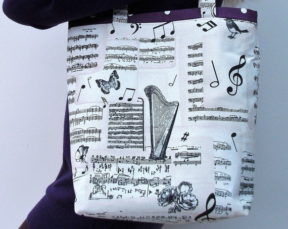Bach large tote bag, music bag, music themed tote, gift for her, gift for musician, gift for violinist, gift for harpist, music teacher gift