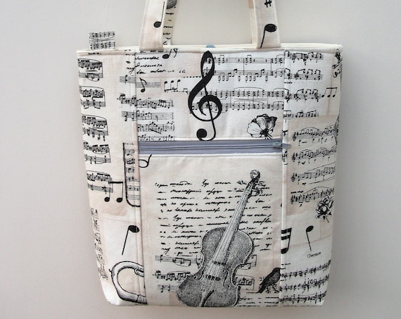 Bach structured zippered tote, tote with pockets, tote with recessed zipper, purse with zipper, music themed bag, music bag