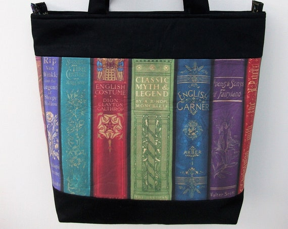 Zippered book bag, book bag, medium tote, gift for book lover, gift for her, gift for student, library theme bag, book themed gift