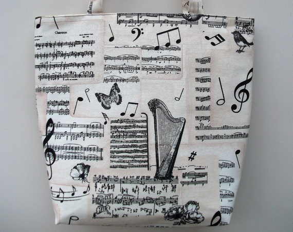 Bach Large Tote Bag, Music Themed Shopper, Long Handled Tote, Music Bag, Gift for Her, Music Gift, Gift for musician, music teacher gift