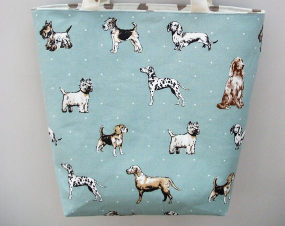 Dog themed Tote Bag, Dog Lover gift,Reusable Shopping Bag, Bookbag, dog walker gift, doggie themed gift, long handled tote, pet themed bag