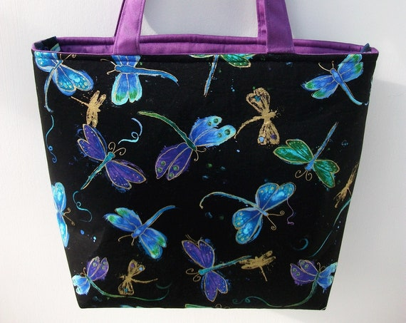 Zippered tote, Project bag,knitting bag, book bag, medium sized tote, gift for her, dragonfly themed bag, lined tote, long handled tote,