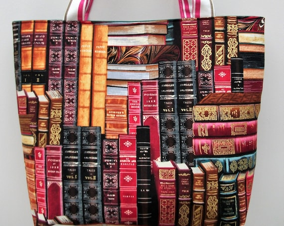 Book bag, small book bag, small tote, long handled tote, gift for book lover, gift for her,