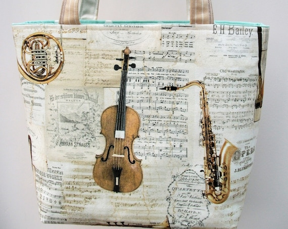 Strauss tote bag, music themed bag, music bag, gift for musician, gift for music lover,violinist gift, gift for violin player