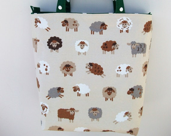 Sheep themed bag, zippered tote,  project bag, zippered project bag,  gift for knitter, gift for quilter, gift for her, market bag