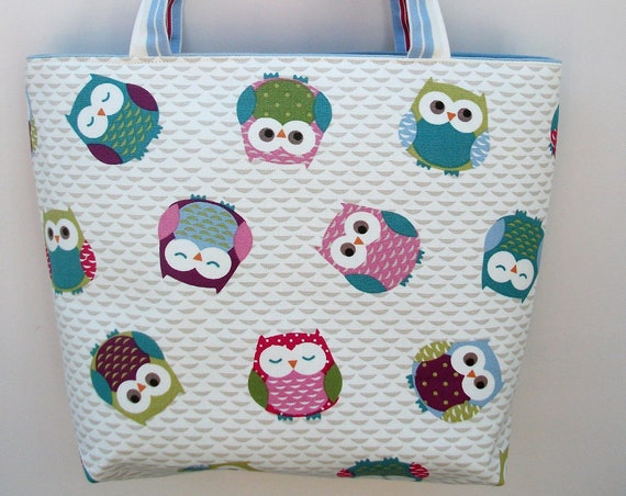 Owl tote bag, owl themed bag, book bag, gift for owl lover, Hedwig bag, book lover gift, gift for her