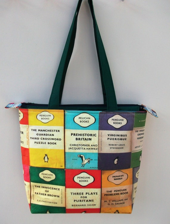 Book bag, zippered book bag, medium tote, gift for book lover, gift for her, gift for student, library theme bag, book themed gift