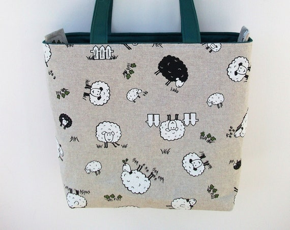 Sheep themed bag, zippered tote,  project bag, zippered project bag,  gift for knitter, gift for quilter, gift for her, zippered book bag