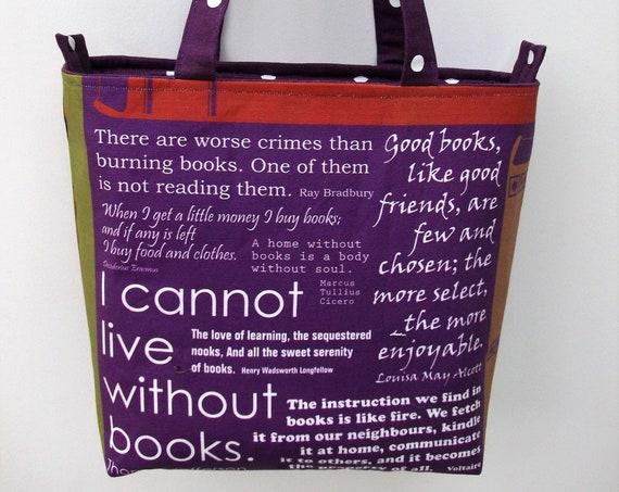 Book bag, zippered book bag, medium tote, gift for book lover, gift for her, gift for student, library theme bag, reader gift, bookworm gift