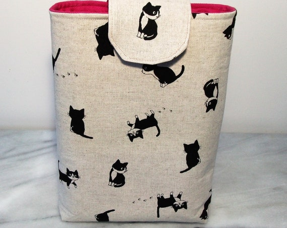 Book pouch, cat themed gift, gift for book lover, book cover, gift for her, cat lover gift, gift for her, paperback cover,