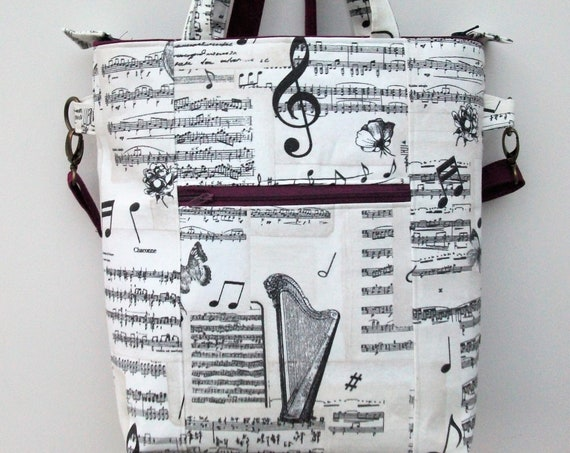 Bach cross body bag, grab bag in music fabric, long handled tote, gift for violinist, music lover gift, music teacher gift, gift for harpist