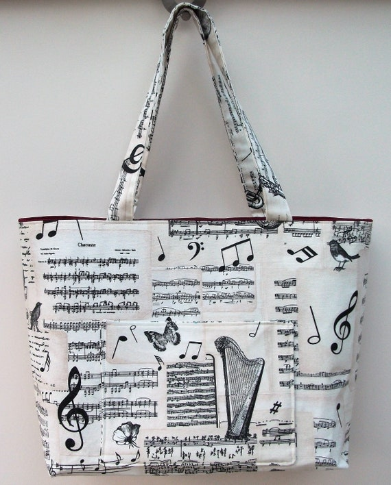 Bach Music themed bag, extra large tote bag, long handled tote, large shopper,  music bag, gift for musician, gift for music teacher