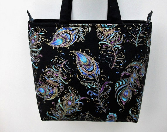 Zippered tote, Peacock themed bag, shoulder bag, Project bag, book bag, medium sized tote, gift for her, lined tote, long handled tote,
