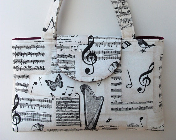 Music themed structured, shaped purse, harp themed tote, music themed shoulder bag, gift for her, gift for harpist, book bag, laptop bag,