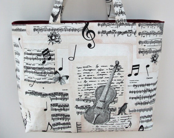 Bach Music themed bag, extra large tote bag, long handled tote, violinist gift,  music bag, gift for violinist, gift for music teacher,