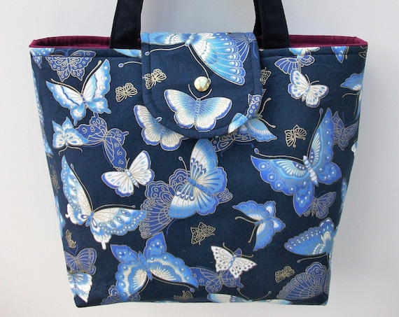 Project bag, craft bag, knitting bag, book bag, medium sized tote, gift for her, butterfly themed bag, lined tote, long handled tote,