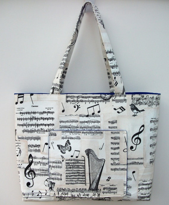 Music themed extra large tote bag, gift for music lover, harpist gift, gift for musician, music teacher gift, gift for her, music bag