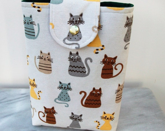 Book pouch, cat themed gift, gift for book lover, padded book cover, gift for her, cat lover gift, paperback cover,