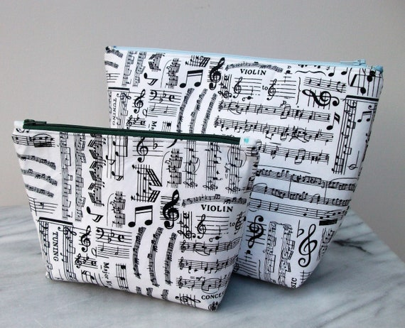 Cosmetics and Toiletries set in music fabric, Gift for musician, Music fabric purse, musician gift, violinist gift, toiletries ba
