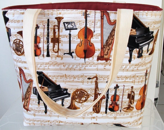 Music themed bag, music bag, book bag, gift for musician, music gift, gift for her, small tote bag, lined tote bag,