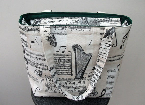 Zippered music themed bag, music bag, book bag with zip, long handled tote, gift for musician, gift for harpist, gift for violinist