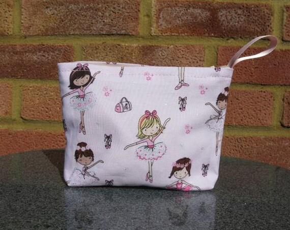 Purse in Ballerina Fabric, Cosmetics Purse, Make up Bag, Change Purse, Gift for Ballerina, Ballet Present,Bridesmaid's Gift
