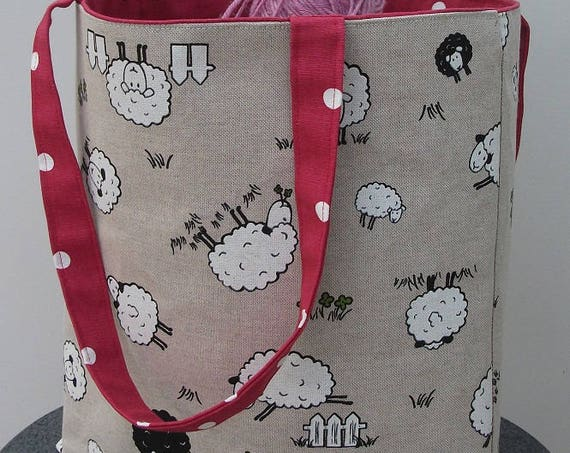 Sheep themed bag, large tote bag animal theme, Sheep fabric tote bag, Lined canvas shoulder bag, Gift for knitter, Knitting bag gift